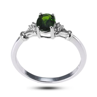 De Buman Sterling Silver Genuine Chrome Diopside and White Topaz Ring