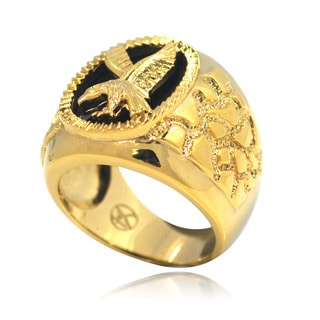 De Buman 14k Gold Overlay Eagle Black Agate Ring