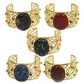 De Buman 14k Gold Overlay Natural Gemstone and Crystal Cuff Bracelet