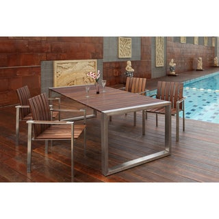 Abbyson Living Alexandria Titanium Stainless Steel Outdoor Dining Set