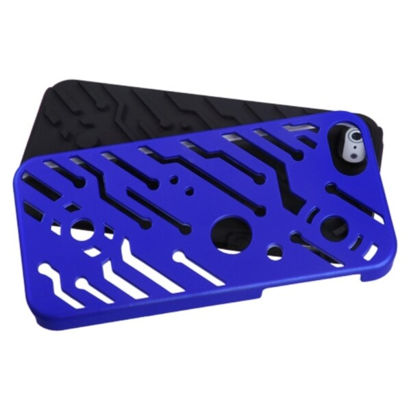 INSTEN Dark Blue/ Black Circuitboard Hybrid Phone Case Cover for Apple iPhone 5