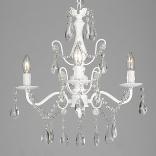 Four-light Wrought Iron and Crystal Chandelier