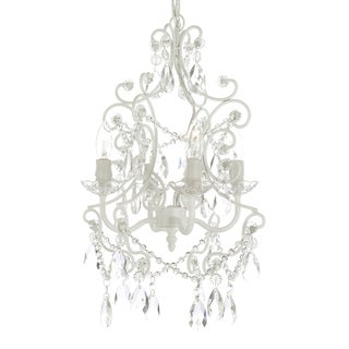 Gallery 4-light White Wrought Iron and Crystal Chandelier