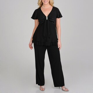 R & M Richards Plus Size 2-piece Pant Set
