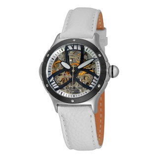 Stuhrling Original Women's Alpine Girl Automatic Skeleton Leather Strap Watch