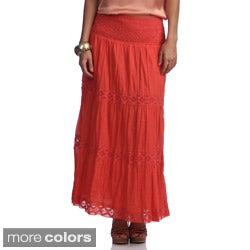 Studio West Women's Eyelet Tiered Maxi Skirt