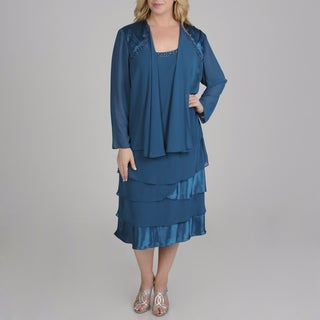 S.L. Fashions Plus Size 2-piece Chiffon Jacket Dress