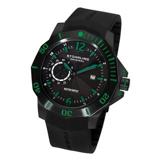 Green Stuhrling Original Men's QuarterMaster ADM Automatic Rubber-Strap Watch