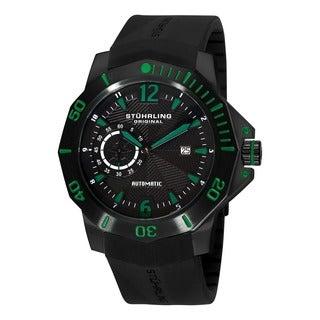 Green Stuhrling Original Men's QuarterMaster ADM Automatic Rubber-Strap Watch