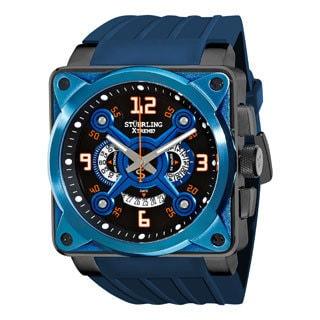 Stuhrling Original Men's Raven Crossfire Blue Quartz Rubber-Strap Watch
