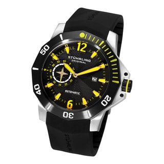 Yellow Stuhrling Original Men's QuarterMaster ADM Automatic Rubber-Strap Watch