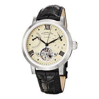 Stuhrling Original Men's Vicarius Automatic Leather Strap Watch with Ivory Dial