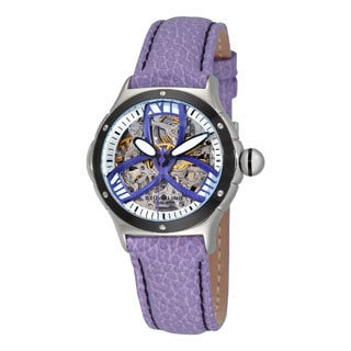 Stuhrling Original Women's Classic Alpine Girl Automatic Skeleton Leather Strap Watch