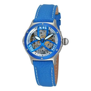 Stuhrling Original Women's Classic Alpine Girl Automatic Skeleton Blue Leather Strap Watch