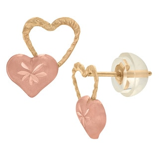 Junior Jewels 14k Gold Children's Diamond-cut Heart Stud Earrings