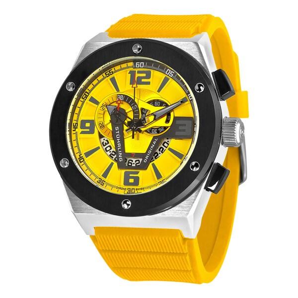 Stuhrling Original Men's Esprit Turbine Quartz Rubber Strap Watch