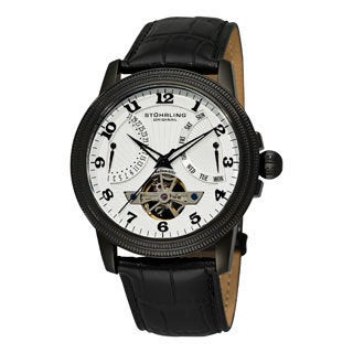 Stuhrling Original Men's Saturnalia Black Automatic Leather-strap Watch