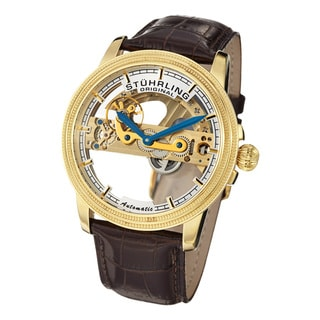 Stuhrling Original Men's Saturnalia Bridge Automatic Skeleton White-Dial Leather Strap Watch