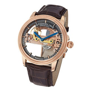 Stuhrling Original Men's Saturnalia Bridge Automatic Skeleton Leather Strap Watch