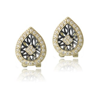 Icz Stonez 18k Gold over Silver Cubic Zirconia Teardrop Earrings
