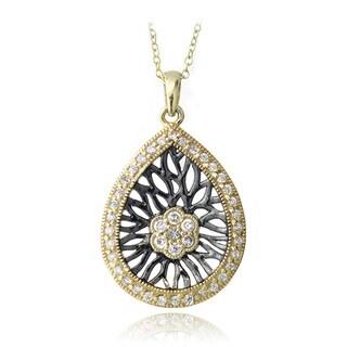 Icz Stonez 18k Gold over Silver Cubic Zirconia Teardrop Necklace