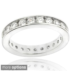 Glitzy Rocks Sterling Silver Cubic Zirconia Eternity Band Ring