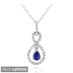 Icz Stonez 18k Gold over Silver or Sterling Silver Cubic Zirconia Infinity Teardrop Necklace