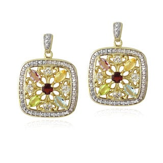 Glitzy Rocks Goldtone Multi Gemstone and Diamond Accent Square Earrings