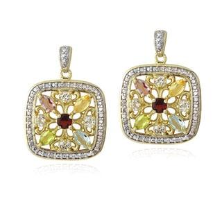 Glitzy Rocks Goldtone Multi Gemstone and Diamond Accent Square Earrings