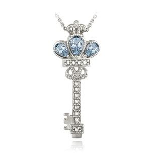 Glitzy Rocks Sterling Silver Blue Topaz Diamond Accent Key Necklace