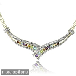 Glitzy Rocks Multi-gemstone Frontal Crossover Necklace
