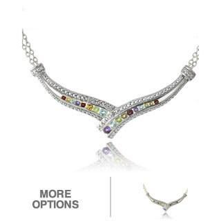 Glitzy Rocks Multi-gemstone Frontal Crossover Necklace