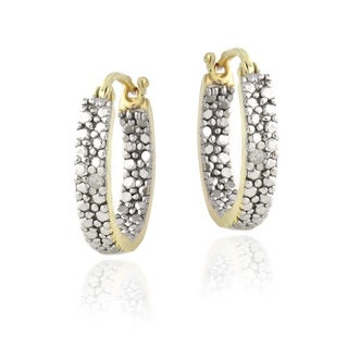 DB Designs 18k Gold over Silver Diamond Accent Inside-out Hoop Earrings