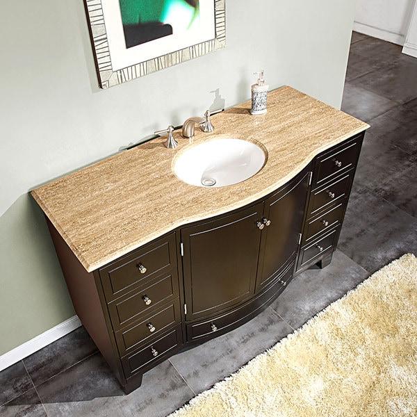 Silkroad Exclusive 55-inch Travertine Stone Top Bathroom Vanity