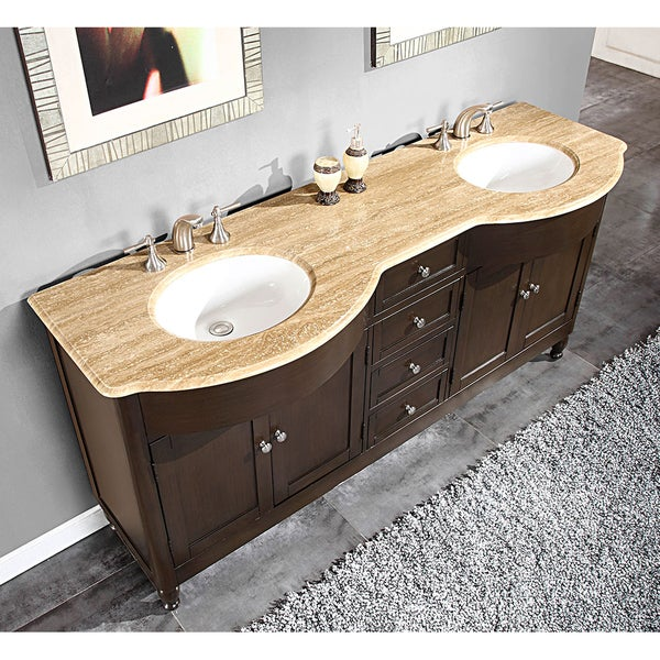Silkroad exclusive 72 inch travertine stone top double sink bathroom vanity 15459495 - Double bathroom vanities granite tops ...
