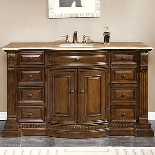 Silkroad Exclusive 60-inch Travertine Stone Top Bathroom Vanity