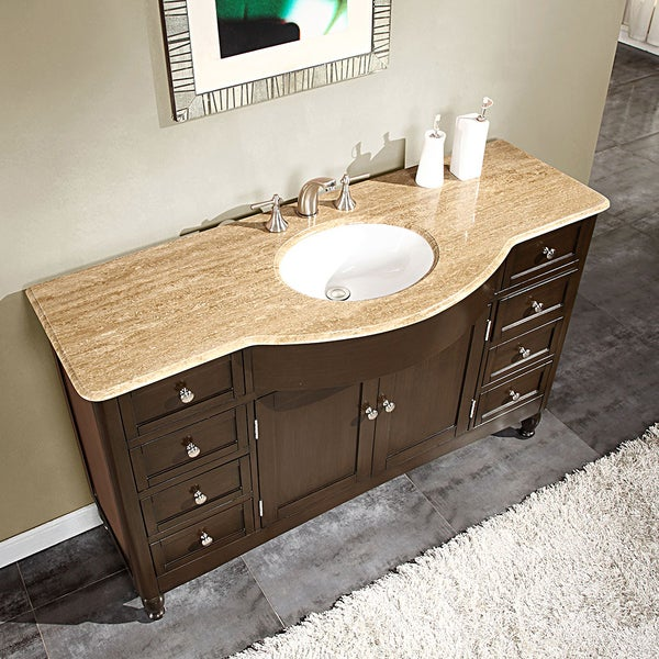 Silkroad Exclusive 58-inch Travertine Stone Top Bathroom Vanity ...