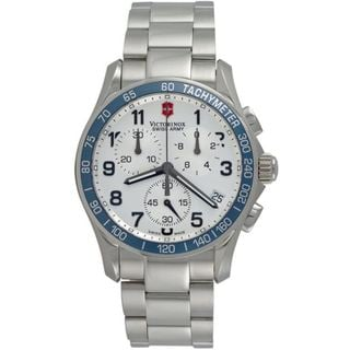 Swiss Army Men's Chrono Classic Blue Bezel Stainless Steel Watch