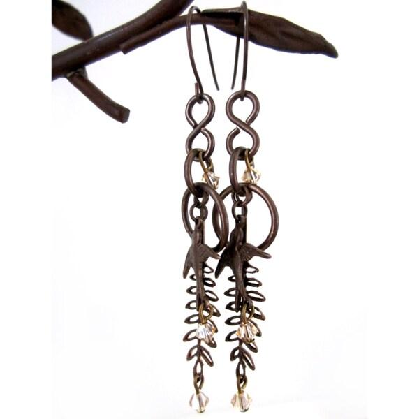 Soaring Sparrow/Fern Earrings
