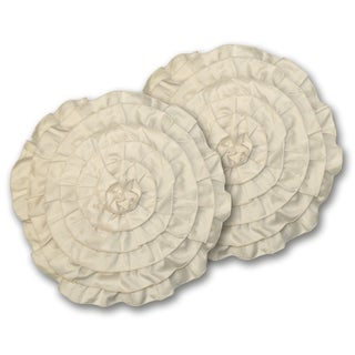 Lush Decor Lucia Round Ivory Decorative Pillows (Set of 2)