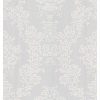 Brewster White Floral Damask Wallpaper