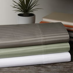 Striped 600 Thread Count Cotton Blend Sateen Deep Pocket Sheet Set