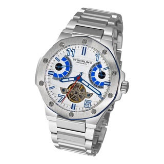 Stuhrling Original Men's Spirit Pro Automatic Silver-Tone-Dial Stainless-Steel Bracelet Watch