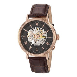 Stuhrling Original Men's 'Lexington' Automatic Skeleton Leather Strap Watch with Brown Strap