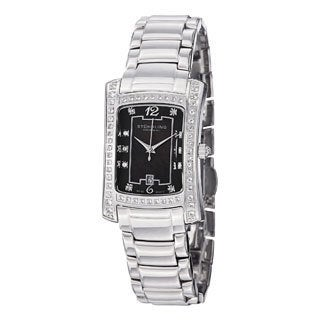 Stuhrling Original Women's Lady Gatsby Classique Quartz Stainless-Steel Bracelet Watch with Black Dial