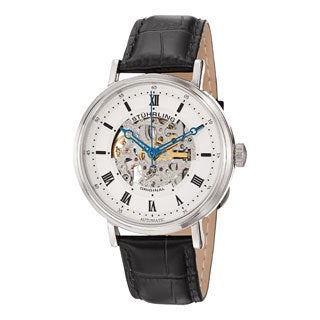Stuhrling Original Men's 'Lexington' Automatic Skeleton Leather Strap Watch with White Face