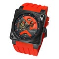 Stuhrling Original Men's 'Raven Rebel' Automatic Skeleton Rubber Strap Watch