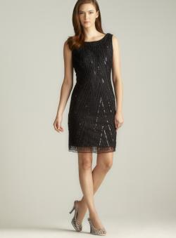 Pisarro Nights Back Draped Sequined & Beaded Chevron Stripe Dress