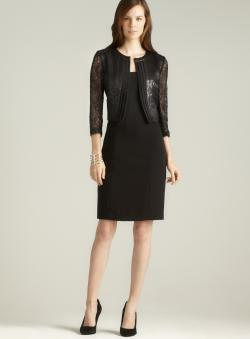 Tahari Metallic Lace Jacket Dress
