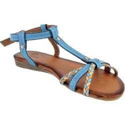 Women's Beston Salma-09 Light Blue Faux Leather